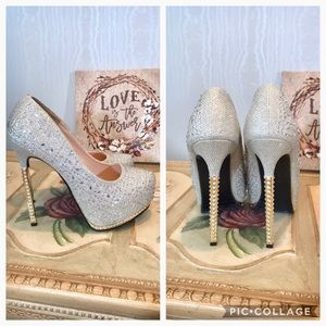Big Tree Rhinestone Wedding Platform Heels Pumps